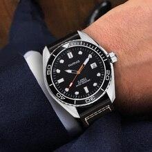 Parnis 43mm automatyczny zegarek mechaniczny mężczyźni ceramiczna ramka szkiełka zegarka 5ATM luksusowy biznes szafirowy wodoodporny Diver zegarek na rękę z kalendarzem mężczyzn