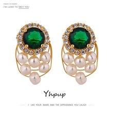 Yhpup elegancki zielony kryształ stadniny kolczyki moda naturalne perły luksusowy kwadratowe cyrkonie kolczyki dla kobiet Party biżuteria prezent