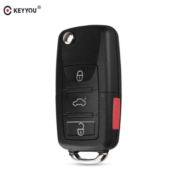KEYYOU 4 przyciski wymiana zdalnego odwróć składany klucz samochodowy Shell Case Fob dla VW Volkswagen Golf MK4 Bora bez grota tanie i dobre opinie KEY SHELL FOR VW in China no blade