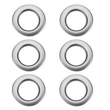 6 шт Круглые люверсы-кольца для занавесок-ABS пластик-Серебристый