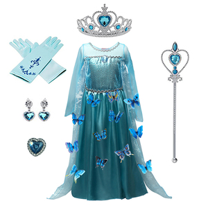 2020 New Blue Baby Girls Kids frozen costume Dress Snow Princess Queen Dress Up children's party Gown Cosplay Tulle Dress 3-8Y(China)