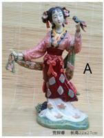 Tanchun honglou Dream jinling twelve hairpins Shiwan dolls porcelain girl Beauty figure Sculpture statue Home Decoration