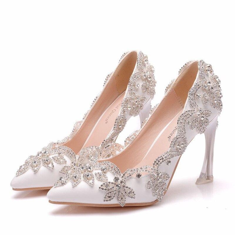 2019 chaussures pour femmes de mariage avec strass talons hauts chaussures pour femmes chaussures de mariage dentelle fleurs talons hauts chaussures talons aiguilles blanc
