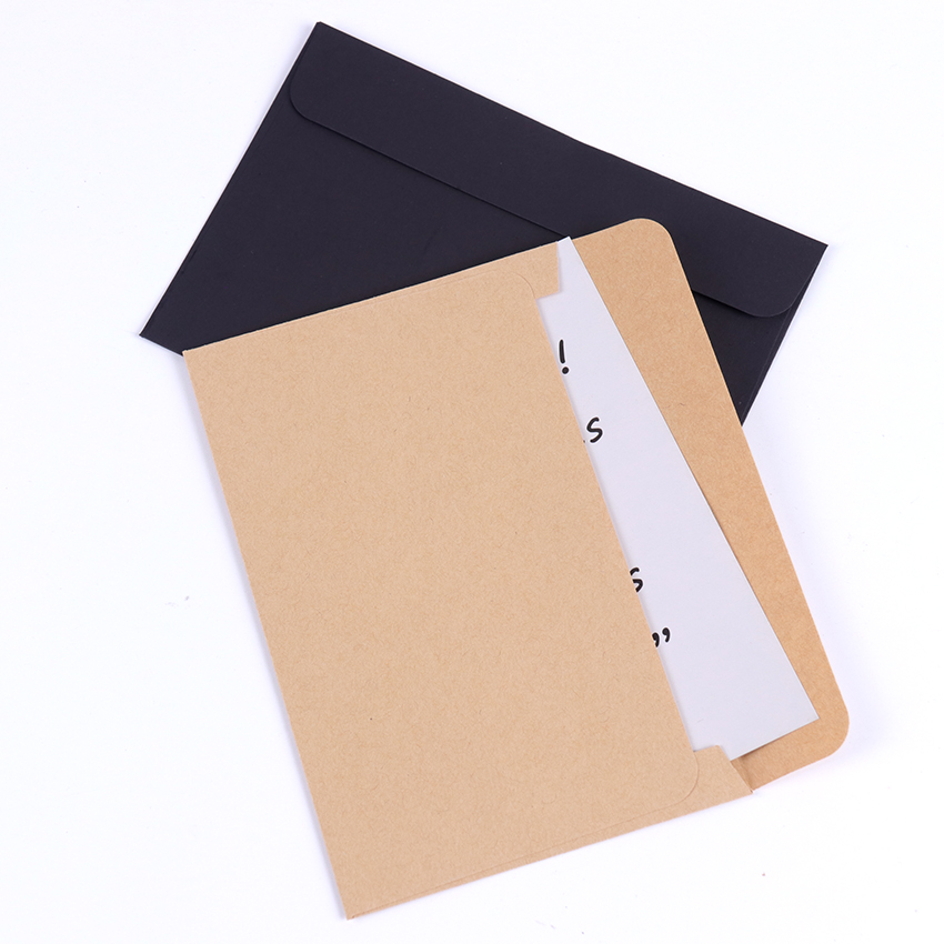 10Pcs/Pack Black Craft Paper Envelopes Vintage European Style Envelope For Card Scrapbooking Gift