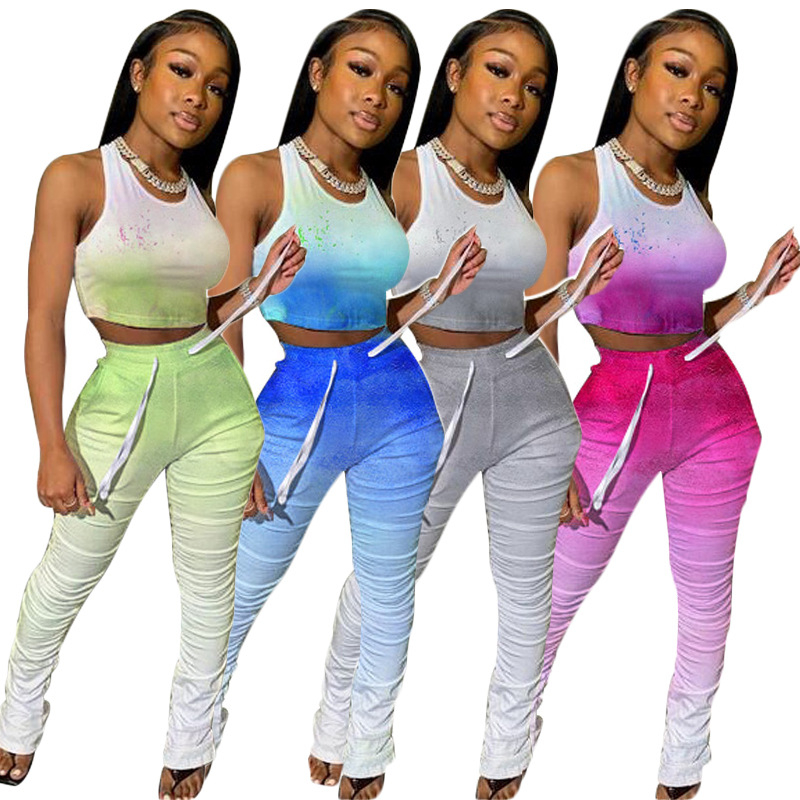 Adogirl Changing Color Women Tracksuit Athleisure Two Piece Set Sleeveless Crop Tank Top Ruched Pants Female Fitness Outfits