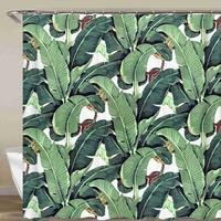 Green Plant Shower Curtain Cactus Banana Leaf Maple Leaf Bathroom Waterproof Fabric With Hook 72x72 Inch