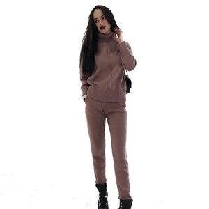 Image 4 - MVGIRLRU נשים של סריגת תלבושות נשים שתי חתיכה סטי גבוהה צוואר אמצע קו סוודר + מכנסיים אימונית נשי תלבושות