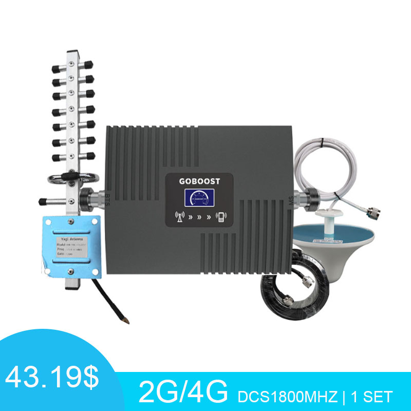 LCD Display Cellular Signal Booster LTE DCS1800mhz  4G Mobile Repeater Yagi+Whip Antenna Signal Amplifier With 10M Cable Kit*