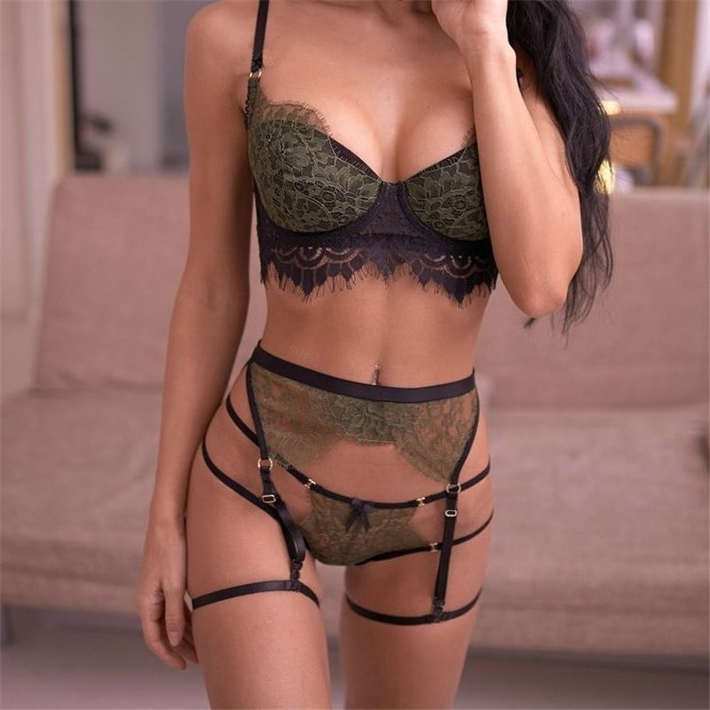 Sexy Women Lace Bra & G-string Bralette Set Lingerie Cross Bandage Hollow Erotic
