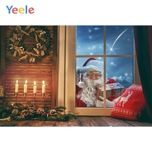 Yeele Christmas Backdrop Santa Claus Candle Window Baby Birthday Party Customized Photography Background For Photo Studio