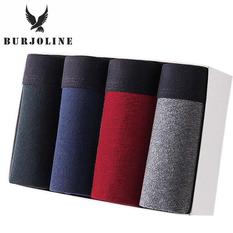 BURJOLINE 4 pz/lotto intimo maschile boxer in cotone uomo mutandine traspiranti pantaloncini solidi marca mutande B0007 1