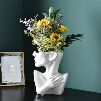 Nordic Creative Half-length Face Flower Pot Modern Minimalist Ceramic Flower Home Decoration Ornaments