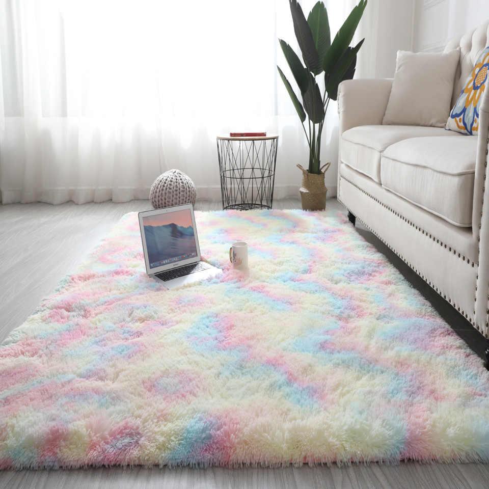 Colorful Rugs For Bedroom Floor Rainbow Fluffy Carpet Kids Girls Living Room Rug Cute Area Plush Shaggy Nordic Modern Home Decor Carpet Aliexpress