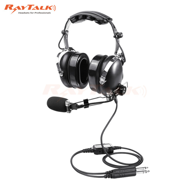Aircraft Headset Aviation Headset, Nosic Cancelling Mic, Adjustable Metal Boom, MP3 Music Support, General Aviation(GA)plug