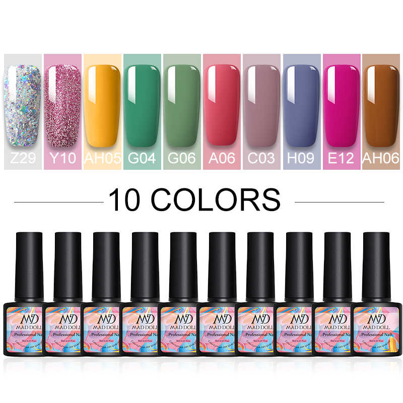 6/10 Pcs/Lot 8Ml Warna Gel Nail Polish Set Warna Semi Permanen Perlu UV Led Gel Varnish Rendam off Kuku Lak Base Top Coat