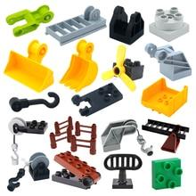 Creativity Big Size Building Blocks Construction Mechanical Accessories Hook Ladder Compatible Bricks Assemble Toys For Children