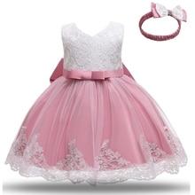 Ball-Gown Dresses Flower Birthday-Wear Christening Toddler Girls White Newborn Princess