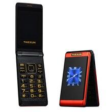 พลิกหน้าจอแบบ dual โทรศัพท์มือถือ SOS โทรศัพท์บลูทูธโทรศัพท์ราคาถูก Big PUSH ปุ่ม Elder clamshell โทรศัพท์มือถือ H  โทรศัพท์มือถือ