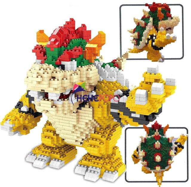2200 adet 21822 elmas blokları karikatür aksiyon figürü Koopa kral Anime mikro DIY yapı oyuncaklar çocuklar için hediyeler Brinquedos çocuk