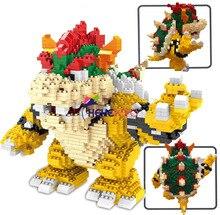 2200 pçs 21822 blocos de diamante dos desenhos animados figura ação koopa rei anime micro diy construção brinquedos para crianças presentes
