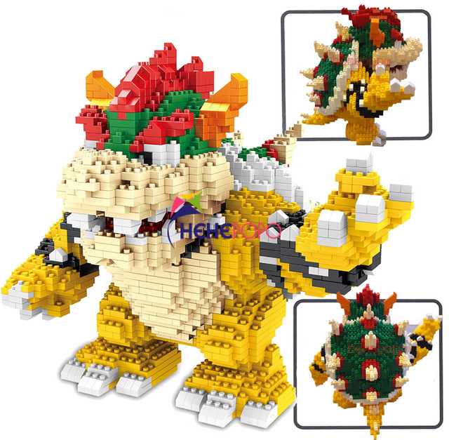 2200pcs 21822 Diamond Blocks Cartoon Action Figure Koopa King Anime Micro DIY Building Toys for Kids Gifts Brinquedos Children