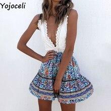 Short Skirts Bottom Print Boho Ruffle Sexy High-Waist Womens Summer Yojoceli Cool Female