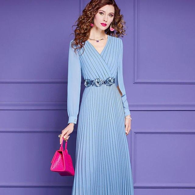 Fashion Dress Spring Women Dress V-neck Split Long Sleeve Beaded Belt Pleated Long Dresses Blue White 1