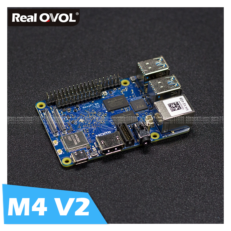 RealQvol FriendlyARM NanoPi M4 V2 4GB DDR3 Rockchip RK3399 SoC 2.4G & 5G Dual-band WiFi+Bluetooth 4.1 Supports Ubuntu Android