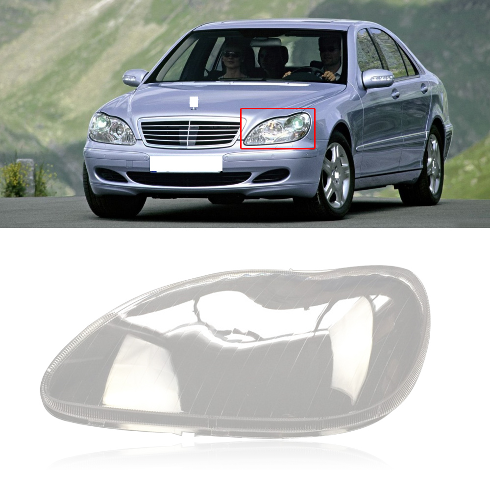 S Class 1Pair 98-05 Clear Front Headlamp Headlight Lens Cover W220