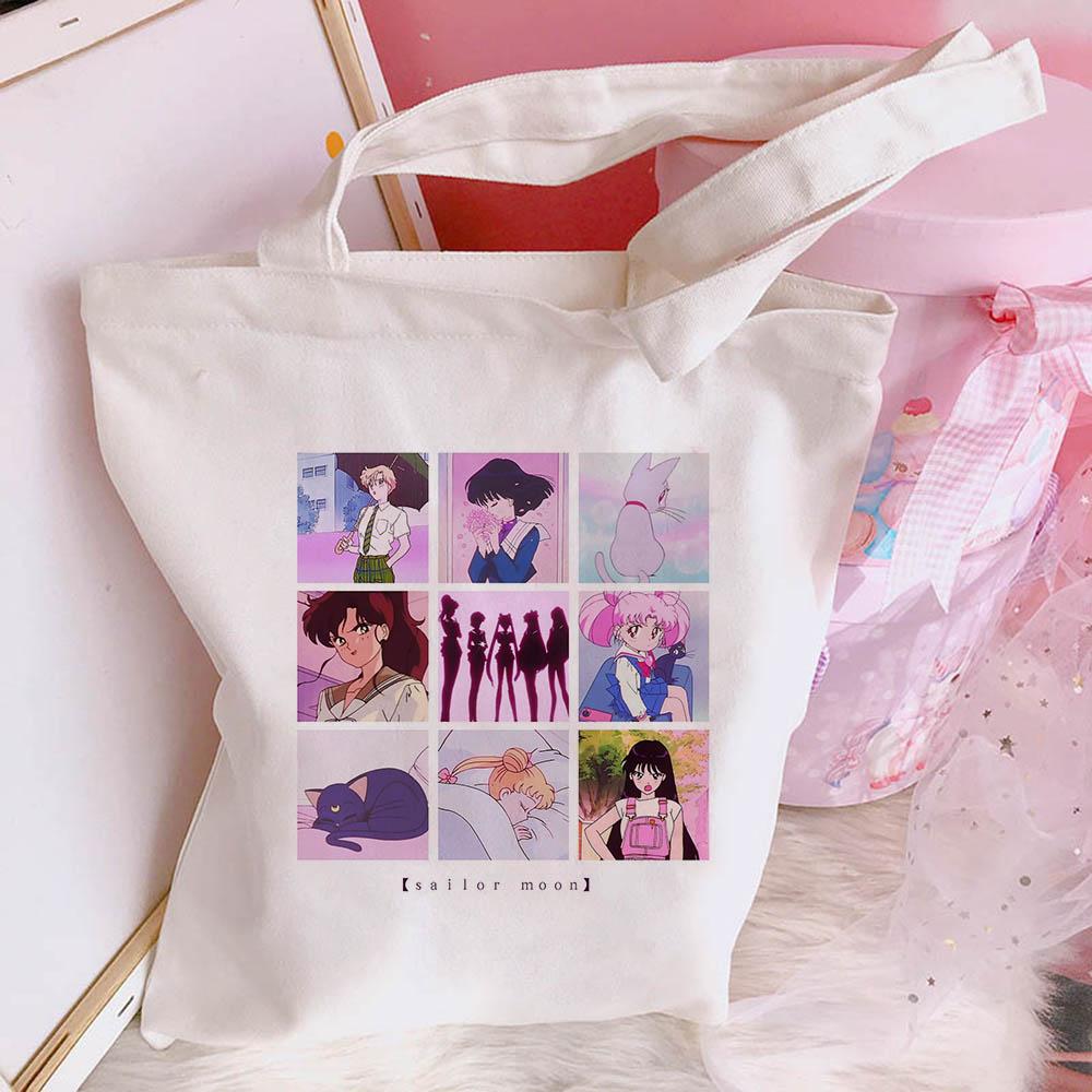 Summer New Fashion Cartoon Fun Sailor Moon Women Cute Ulzzang Print Cute Casual Canvas Messenger Bag Harajuku Shoulder Bags