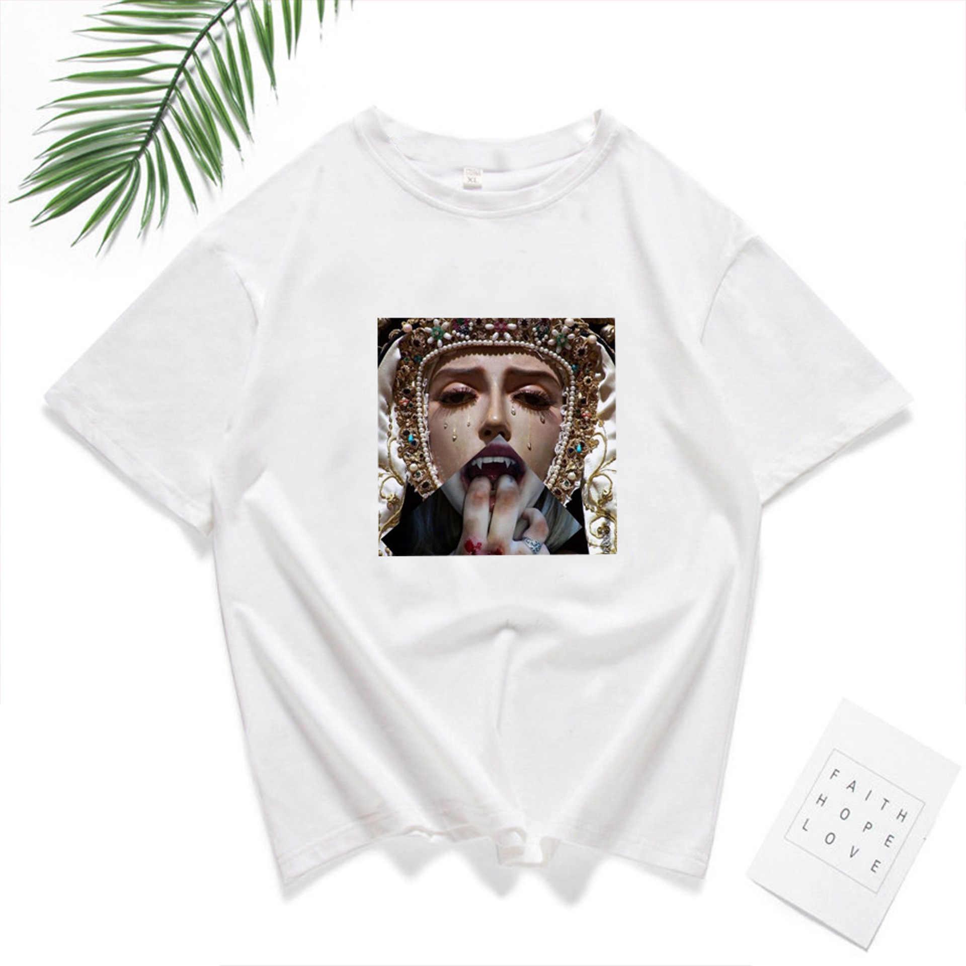 Mona Lisa T Shirt kobiet parodia osobowość moda Tshirt lato 2019 Harajuku estetyki z krótkim rękawem białe topy kobiet T-shirt