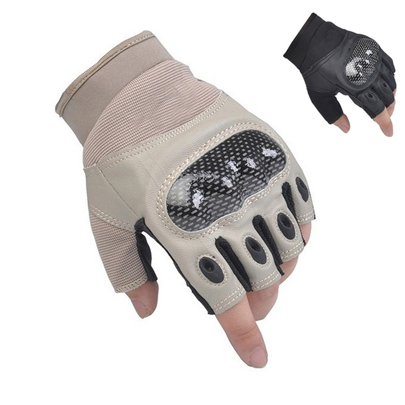 2020 Newly Carbon Fiber Fingerless Gloves Men Women Gym Gloves Outdoor Sports Protective Shell Half Finger Men's Tactical Gloves