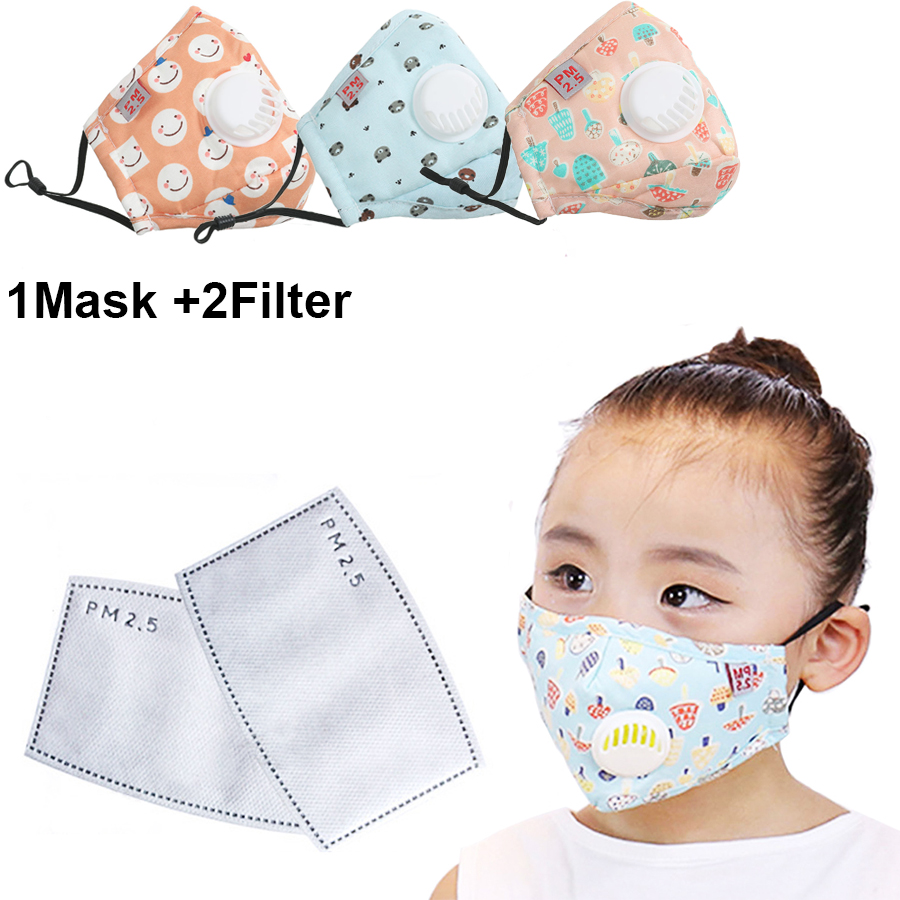 1Set Washable Children Masks Respirator Face Mask With Breathing Cap Cotton Activated Carbon Filter Anti Dust Mouth Masks