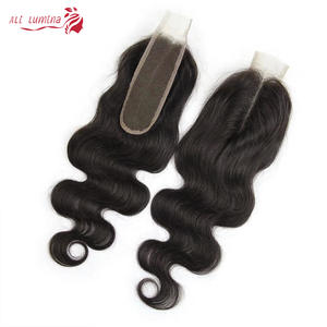 Closure Human-Hair Body-Wave Middle-Part 2x6 Remy Natural-Color Brazilian Kim K