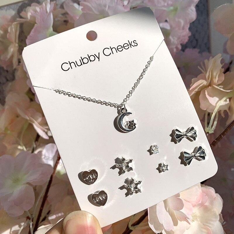 Модные корейские серьги-гвоздики, имитация жемчуга, пентаграмма, олень, рыбий хвост, крест, снежинка, сердце, серьги, колье, женские подарки, ювелирные изделия - Окраска металла: ED007305