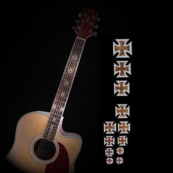 Guitar Cross Inlay Decals Sticker Fretboard Markers Crucifix Shape for Electric Acoustic Classical Guitar Bass Ukulele Decorate high quality guitar fretboard markers inlay sticker decals star shape for electric acoustic classical guitar bass ukulele