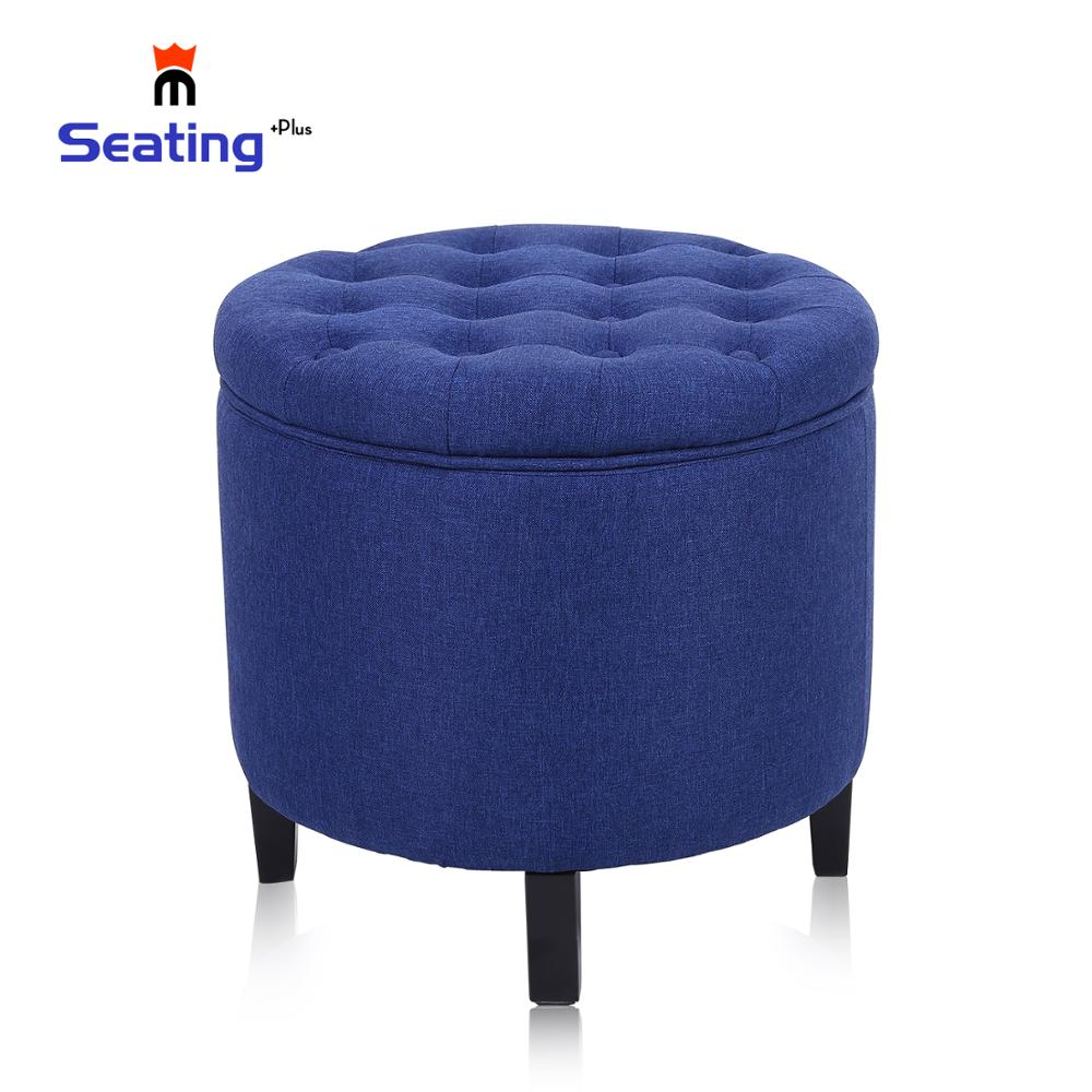 Seatingplus  Cotton And Linen Round Storage Ottoman, Detachable Cover, Kitchen Bedroom Living Room Storage Stool Footstool