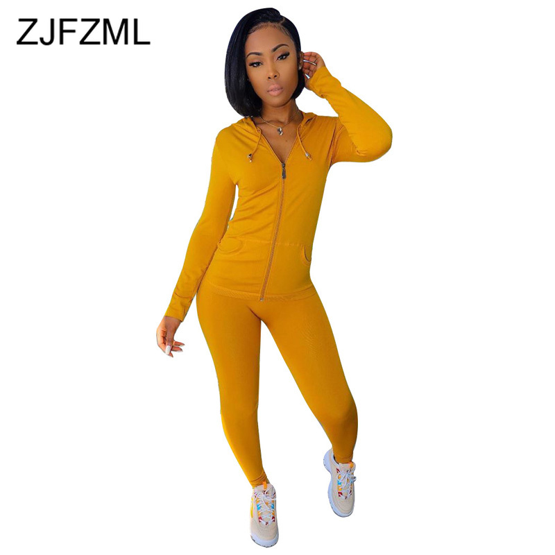 Autumn Winter Casual 2 Piece Female Tracksuit Drawstring Hooded Front Zipper Sport Tops And Slim Fit Pencil Pants Two Piece Set