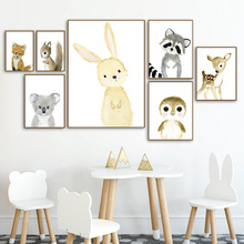 woodland Animals Rabbit Fox Deer Raccoon Wall Art Canvas Painting Nordic Posters And Prints Pictures Baby Kids Room Decor