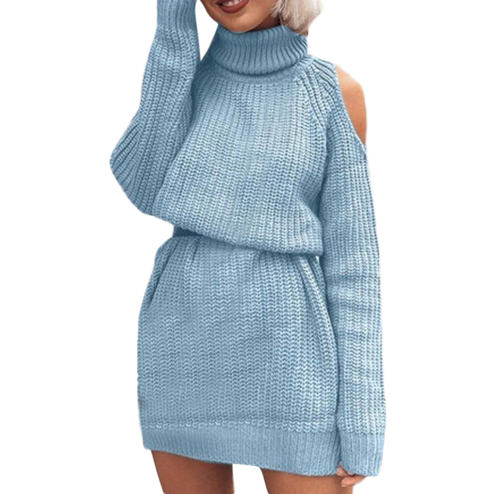 Women's Turtleneck Sweater New Long-sleeved Solid Strapless Shoulder Long Autumn Winter Fashion Casual Daily Warm Jumper #S