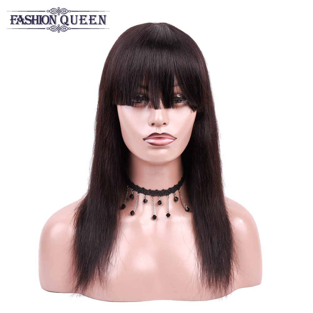 Brazilian Non Remy Straight Human Hair Wigs With Adjustable Bangs Human Hair Wigs Machine Made Natural Color Fashion Queen