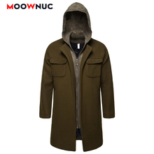 Male Woollen Overcoat Winter Autumn Fashion Business Thick Smart Casual American style Long Thermal MOOWNUC Solid Mens Coats