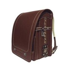 NEW Randoseru School Bags For Boy Children's Backpack PU Leather Solid Waterproof Luxury Japanese School Bag Student Bookbags