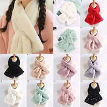 Women Winter Thicken Faux Rabbit Fur Scarf Solid Color Pearls Collar Shawl Neck Warmer Shrugs Knitted Neckerchief Long Wraps(China)