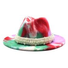 Hats Women Fedora Pearl-Band Wide Brim Elegant Vintage Winter Luxury Tie-Dye Multicolor