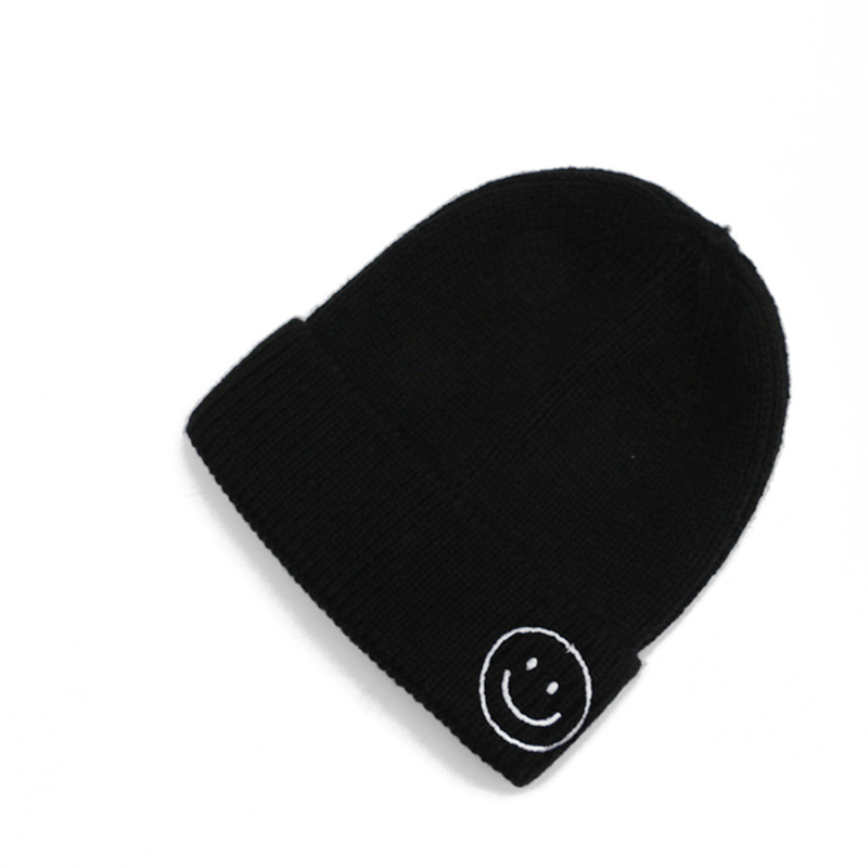 Hats Woman Knitting Wool Cap All-match Set Head Cap Smiling Face Embroidery Children Keep Warm Hat Male