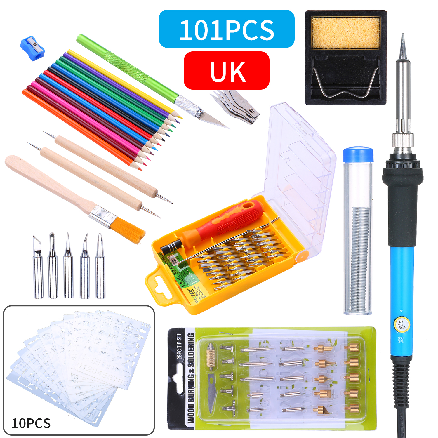 28 in 1 Wood Burning Pen Tips Set Soldering Iron Kit Replacement Wood Burning Carving Pyrography Stencils Craft Tool