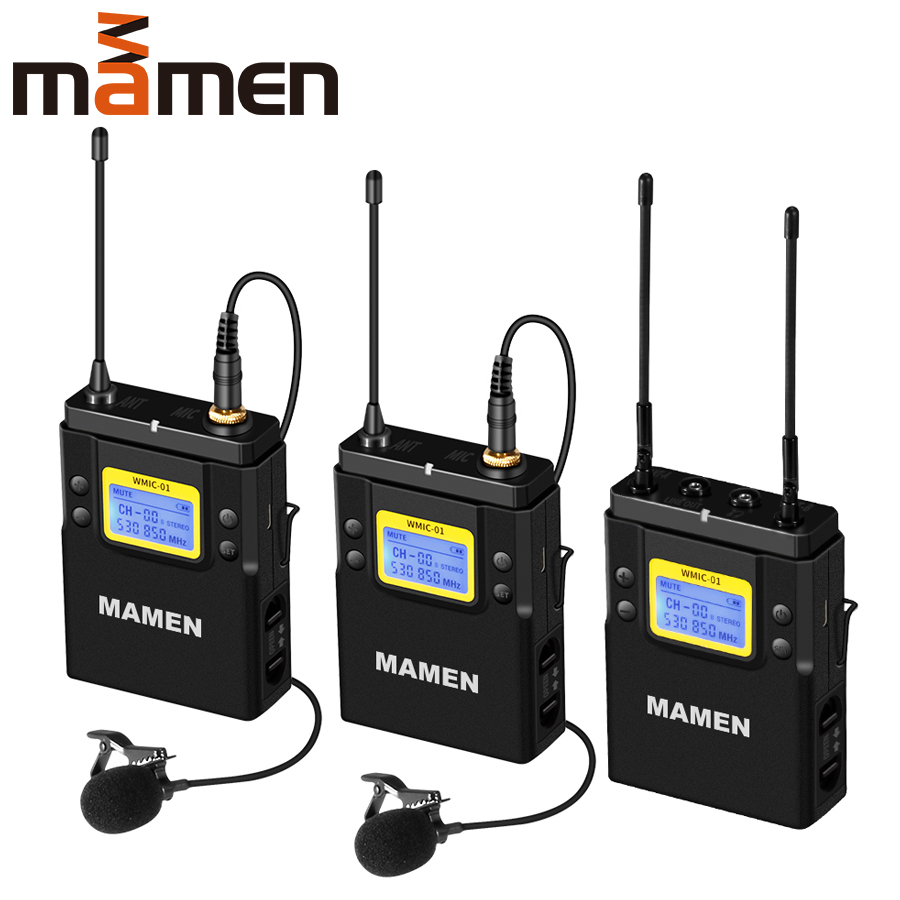 MAMEN Professional Wireless Microphone UHF Dual Channel Super HD 530-590MHz Recording Microphone 60-100m Reception distance title=