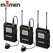 MAMEN Professionale Microfono Wireless UHF a Doppio Canale Super-HD 530-590MHz Microfono di Registrazione 60-100m Reception distanza(China)