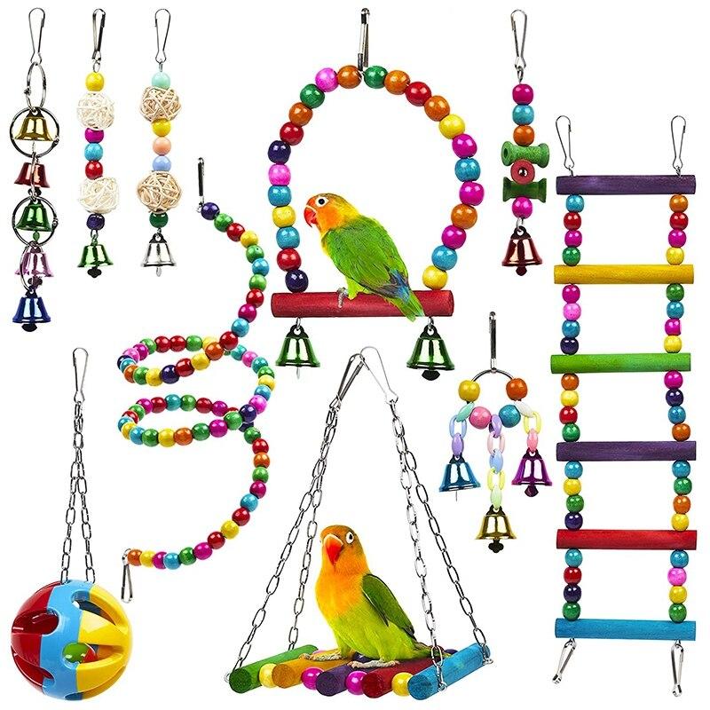 10 pacote gaiola de pássaro brinquedos para papagaios confiável & mastigável-balanço pendurado mastigando mordida ponte contas de madeira bola sino brinquedos.